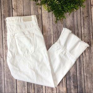 Zara Basic White Ruffle Leg Cropped Flare Jeans